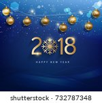 happy new year 2018 greeting... | Shutterstock . vector #732787348