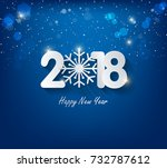 happy new year 2018 greeting... | Shutterstock . vector #732787612