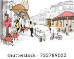 series of the street cafes with ... | Shutterstock .eps vector #732789022