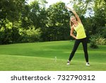 young sporty woman doing