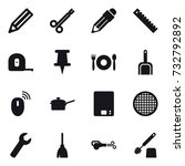 16 vector icon set   pencil ... | Shutterstock .eps vector #732792892