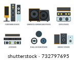 types of audio speakers  vector ... | Shutterstock .eps vector #732797695