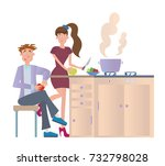 couple cooking dinner at home... | Shutterstock . vector #732798028