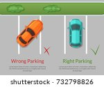 vector wrong and right parking... | Shutterstock .eps vector #732798826
