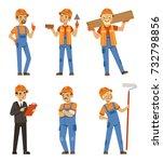 mascot design of builders in... | Shutterstock .eps vector #732798856