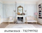 cozy interior of the living... | Shutterstock . vector #732799702