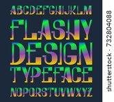 flashy design typeface. rainbow ... | Shutterstock .eps vector #732804088