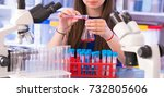 a teenage girl in a school... | Shutterstock . vector #732805606