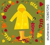 autumn set includes yellow... | Shutterstock . vector #732807292