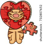 Cat With Heart Shaped Puzzle