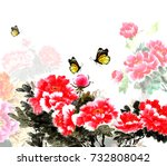 the traditional ancient chinese ... | Shutterstock . vector #732808042