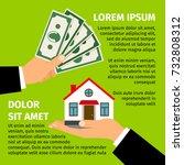 buy house poster with men hands ... | Shutterstock .eps vector #732808312