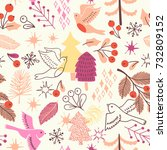 christmas seamless pattern with ... | Shutterstock .eps vector #732809152