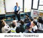 happy kids at elementary school | Shutterstock . vector #732809512