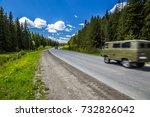 a passing all terrain vehicle.... | Shutterstock . vector #732826042