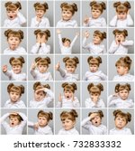 collage of little cute girl... | Shutterstock . vector #732833332