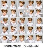 collage of little cute girl... | Shutterstock . vector #732833332