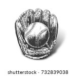 baseball glove with ball   hand ... | Shutterstock .eps vector #732839038
