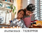 smiling father and daughter... | Shutterstock . vector #732839908