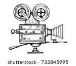 old movie camera engraving... | Shutterstock .eps vector #732845995