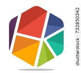 logo icon hexagon shape with... | Shutterstock .eps vector #732850342