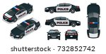vector police car with rooftop... | Shutterstock .eps vector #732852742