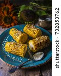 corn  baked on a grill dinner... | Shutterstock . vector #732853762