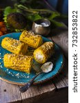 corn  baked on a grill dinner... | Shutterstock . vector #732853822