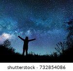 girl watching the stars in... | Shutterstock . vector #732854086