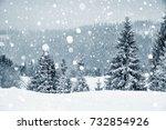 winter wonderland with fir... | Shutterstock . vector #732854926