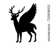 deer peryton silhouette ancient ...   Shutterstock .eps vector #732858022