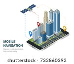 isometric smart city or mobile... | Shutterstock . vector #732860392