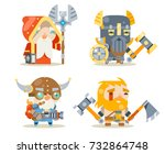 dwarfs warrior defender rune... | Shutterstock .eps vector #732864748