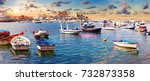 fishing village and boat dock.... | Shutterstock . vector #732873358