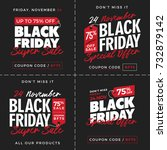 set of black friday super sale... | Shutterstock .eps vector #732879142