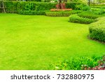green lawn  the front lawn for... | Shutterstock . vector #732880975