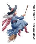 watercolor hand drawn halloween'... | Shutterstock . vector #732881482