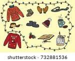 winter warm clothes christmas... | Shutterstock .eps vector #732881536