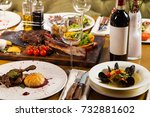 dinner with food and vine... | Shutterstock . vector #732881602