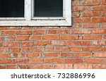 an old red brick wall with part ... | Shutterstock . vector #732886996