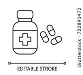 pills bottle linear icon.... | Shutterstock .eps vector #732891472