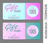 gift voucher template with... | Shutterstock .eps vector #732896248