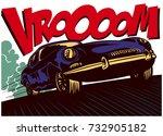 Pop Art Comics Style Fast Car...