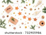 golden christmas decorations ...   Shutterstock . vector #732905986