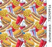 watercolor hand drawn pattern ... | Shutterstock . vector #732909916