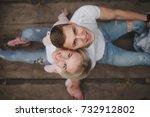 beautiful blonde girl with... | Shutterstock . vector #732912802