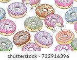 donuts seamless pattern.... | Shutterstock .eps vector #732916396