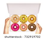 realistic colorful donuts with... | Shutterstock .eps vector #732919702