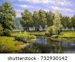 oil paintings landscape  river... | Shutterstock . vector #732930142