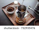 drip  brewing  pouring water... | Shutterstock . vector #732935476